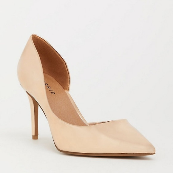 torrid Shoes - Torrid Shiny Rose Gold D'Orsay Pointed Top Pump 9W